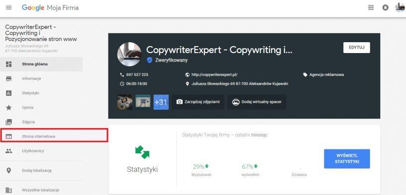 Strona www w Google Firma czyli skuteczne pozycjonowanie strony www i copywriting
