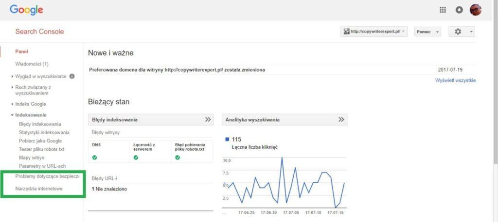 Boczne menu w google search console - problemy dotyczące bezpieczeństwa i narzędzia internetowe