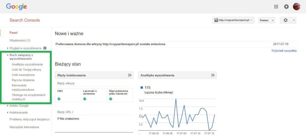 Boczne menu w google search console - ruch związany z wyszukiwaniem