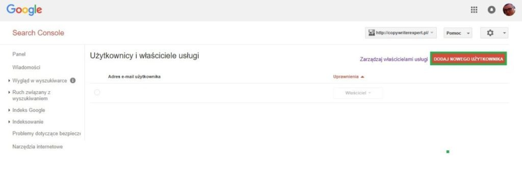 Dodaj nowego użytkownika do Google Search Console