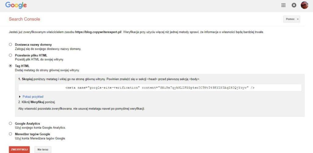 jak dodać stronę www do google search console przez tag HTML