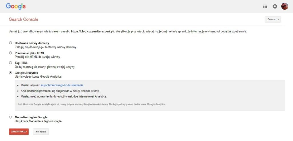 jak dodać stronę www do google search console przez konto Google Analytics