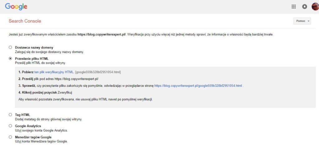 jak dodać stronę www do google search console przez plik HTML
