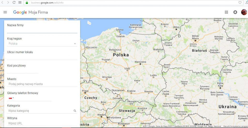 Formularz podczas rejestrowania wizytówki w Google Moja Firma