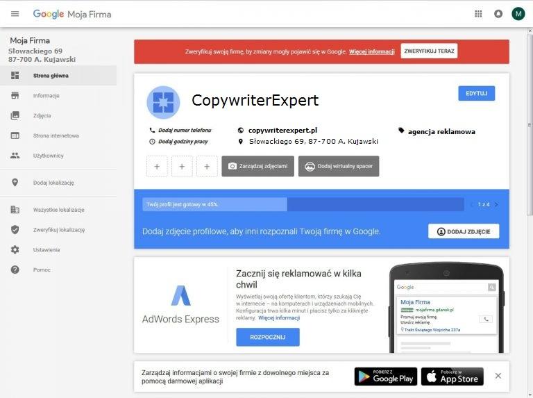 Panel zarządzania wizytówką Google Moja Firma (przed weryfikacją)