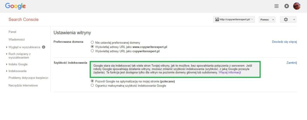 Ustawienia witryny w Google Search Console - szybkość indeksowania