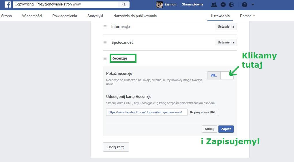 Jak usunąć recenzje na Facebooku przez Ustawienia strony i Recenzje usuń