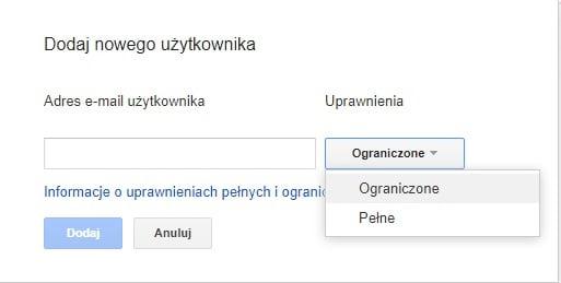 Wpisujemy nowego użytkownika do Google Search Console