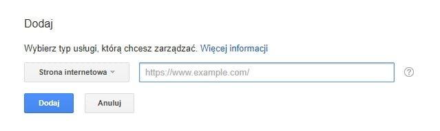 Wybierz rodzaj witryny do Search Google Console