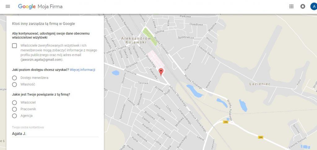 Wysłanie wiadomości do osoby, która zarządza wizytówką Google Moja Firma