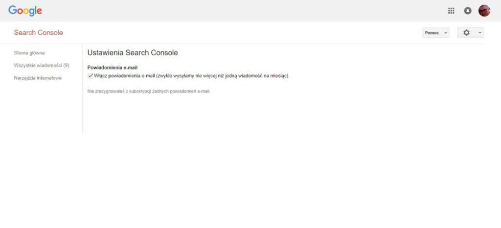 Zezwolenie bądź odmowa otrzymywania wiadomości od Google Search Console na email