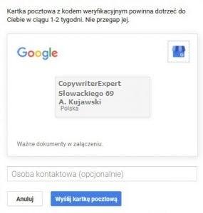 dodanie osoby kontaktowej do pocztówki w celu weryfikacji Google Moja Firma