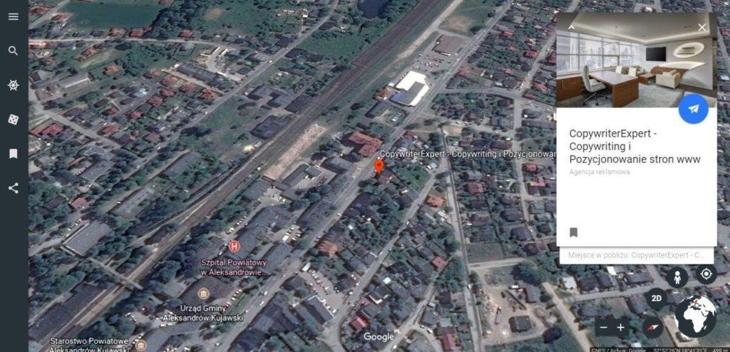 wizytówka CopywriterExpert w wynikach wyszukiwania Google Earth