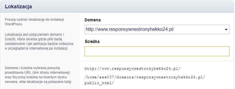 ścieżka lokalizacji wordpressa na stronie www w Direct Admin