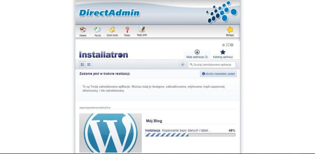 Instalacja WordPressa na stronie w Direct Admin rozpoczęta