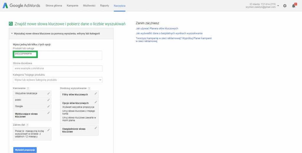 Jak wyszukac słowo kluczowe w Planner słów kluczowych Google