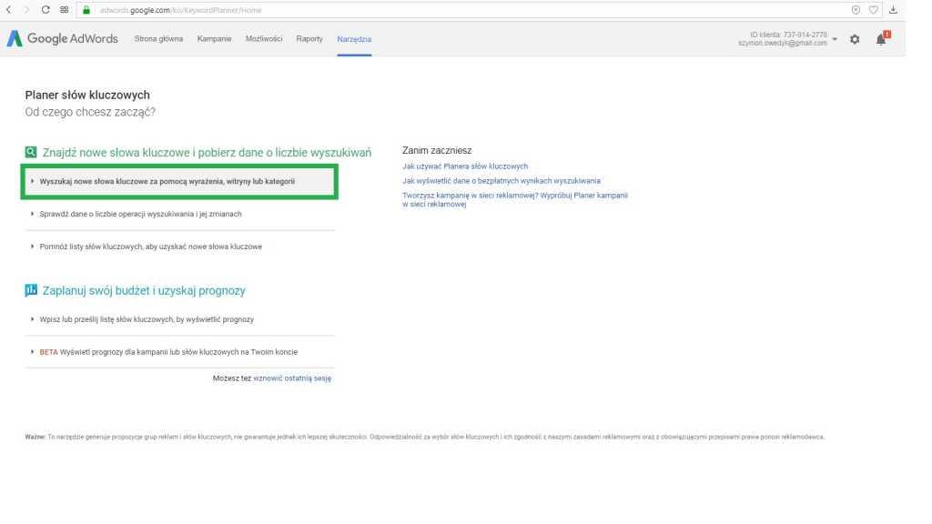 Jak wyszukac słowo kluczowe w Planner słów kluczowych Google cz.1