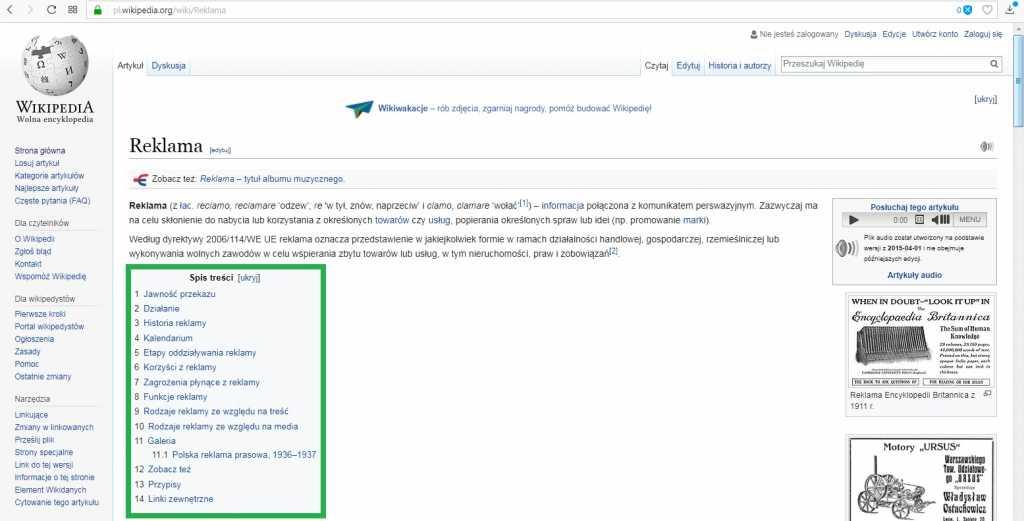 Wikipedia spis treści