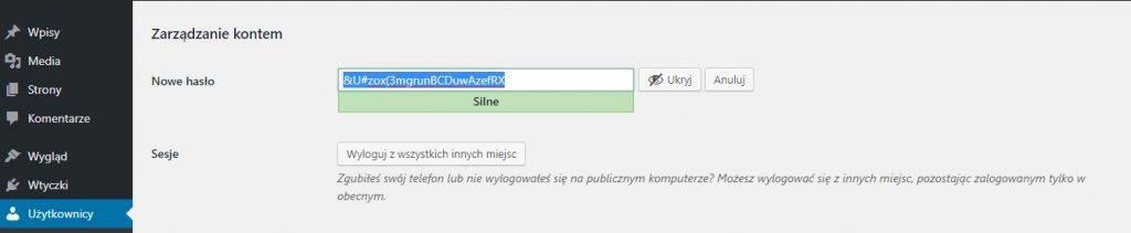 Ustawienie bezpiecznego hasła w wordpressie