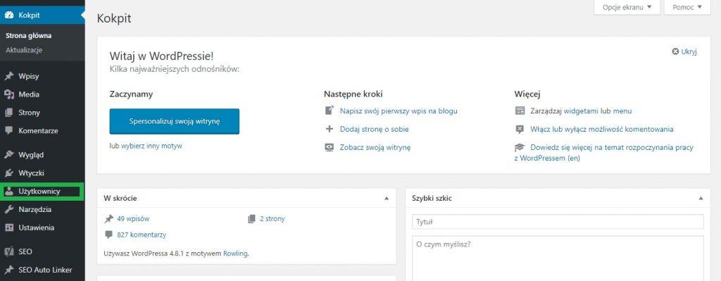 Logowanie do panelu administracyjnego WordPress - użytkownicy, jak zabezpieczyć wordpressa