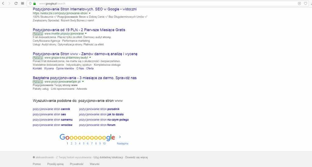 jak dobrać słowa kluczowe na samym dole w wyszukiwarce google