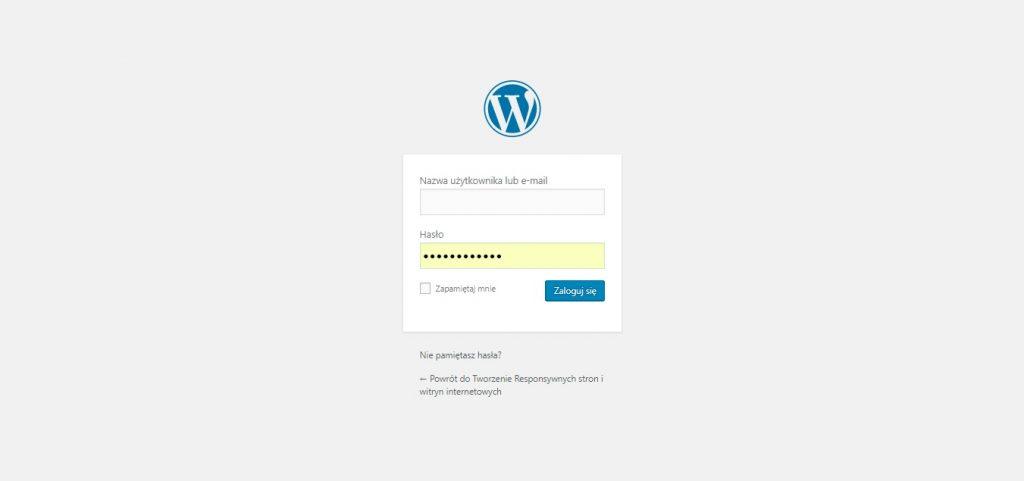 logowanie do panelu administracyjnego wp-admin WordPress