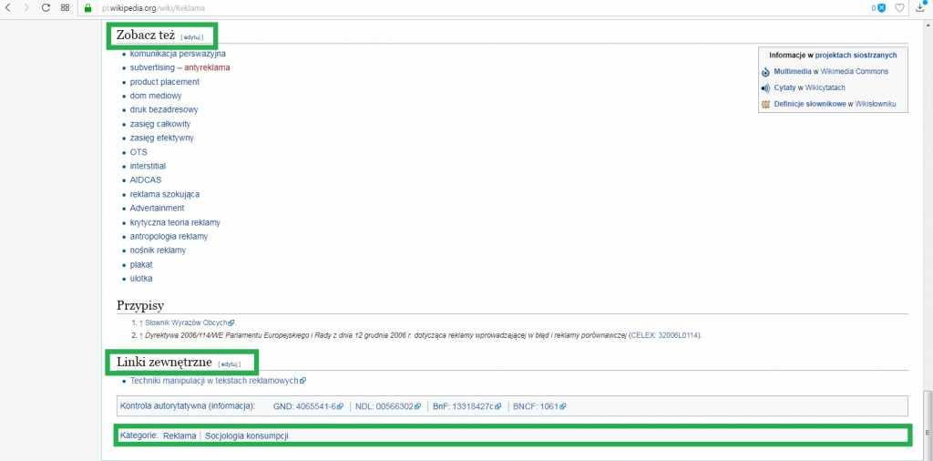 wikipedia sekcja zobacz także, odnośniki i kategorie