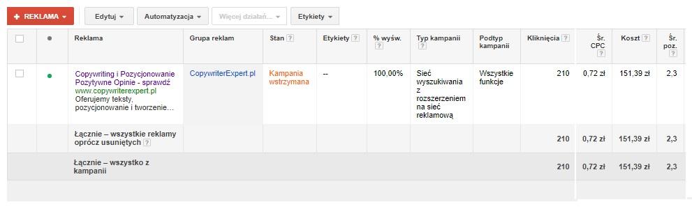 1 kampania reklamowa AdWords przeprowadził Szymon Owedyk