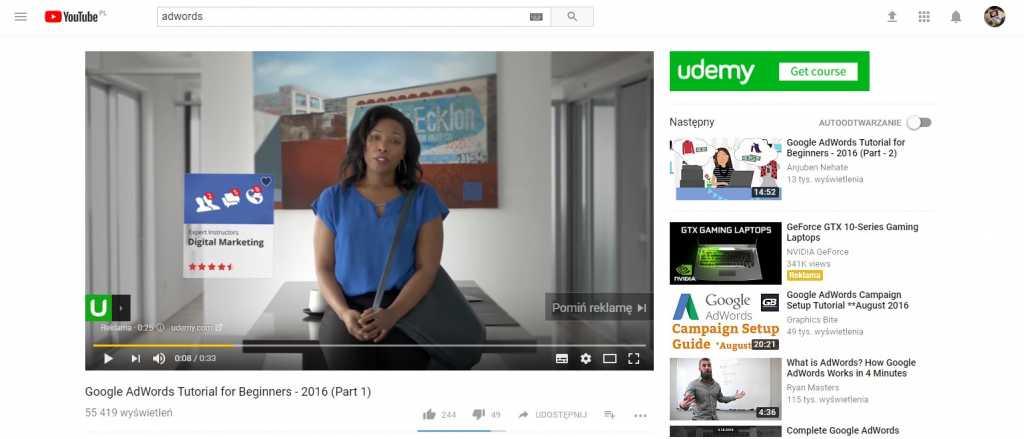 Reklama Adwords na youtube w czasie trwania filmu