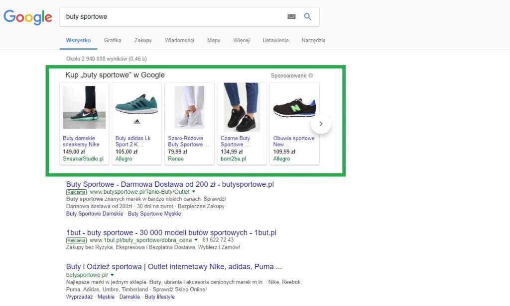 Reklama adwords na górze wyników wyszukiwania google ze zdjęciami