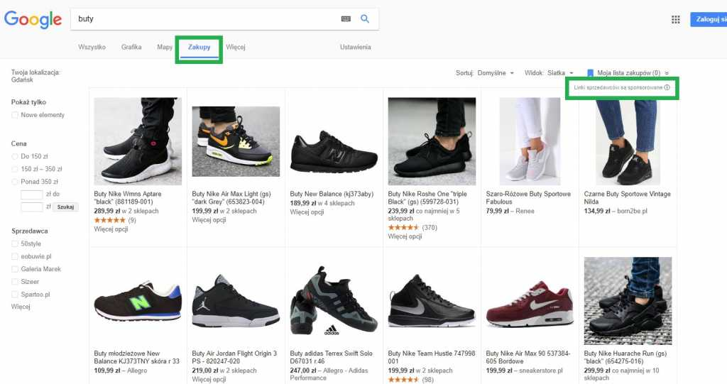 Reklama adwords w zakładce Zakupy dla promocji sklepów internetowych