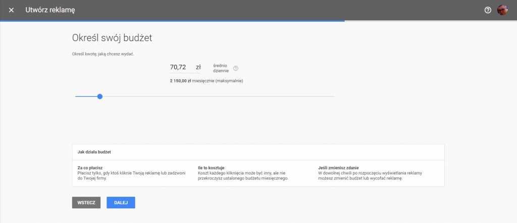 Utworzenie reklamy w Google Adwords Express - określenie budżetu cz. 10