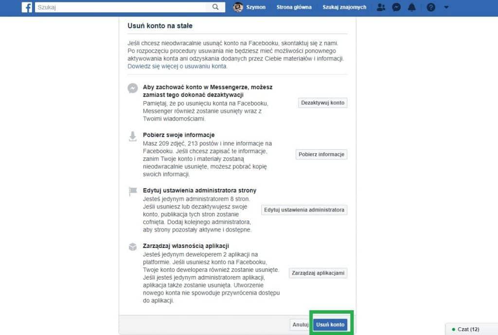 usunięcie konta na fb część 4