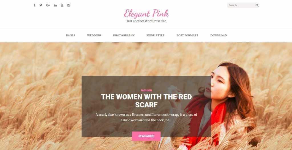 Szablon motyw wordpress na blog Elegant pink