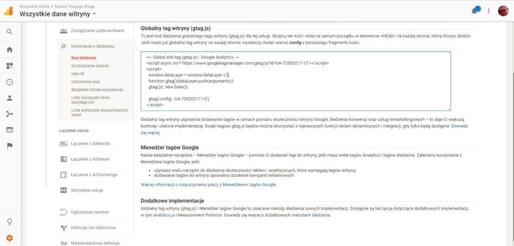 Dodanie bloga do google analytics kod śledzenia