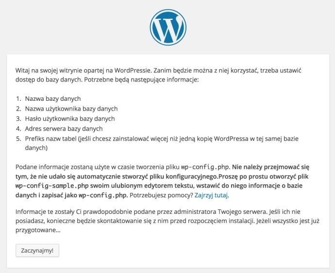 Wordpress instalacja bloga rozpoczęcie pracy instalatora