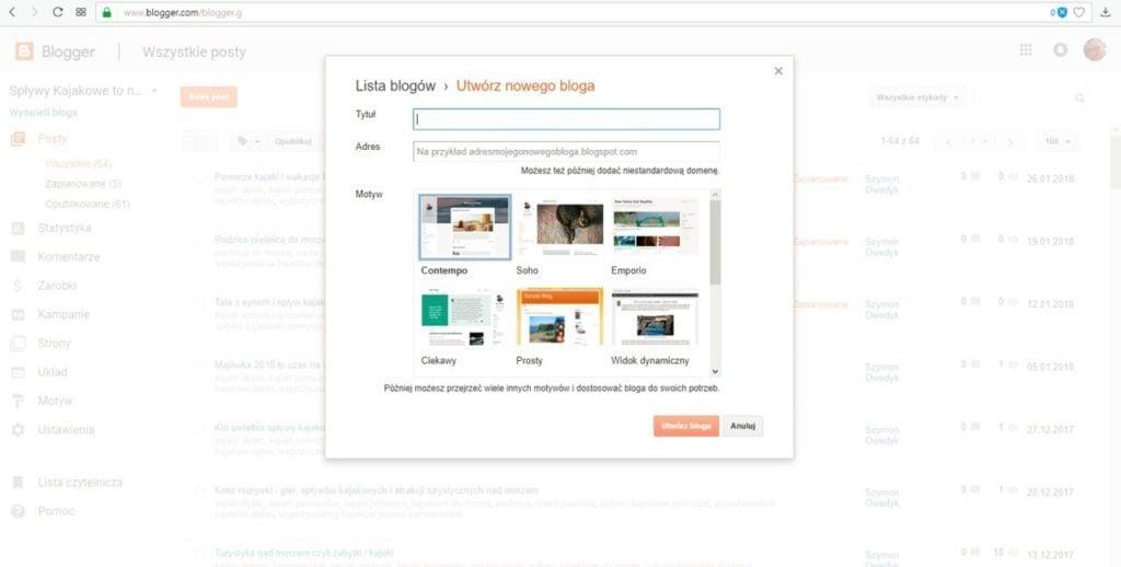 jak założyć bloga na blogspot - formularz tworzenia nowego bloga