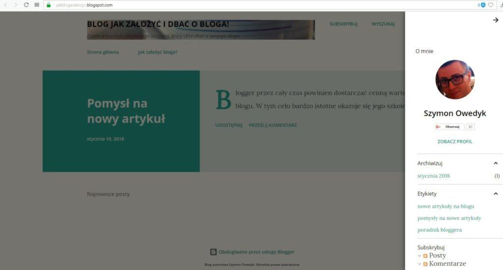 jak założyć bloga na blogspot - sukces utworzyłeś bloga