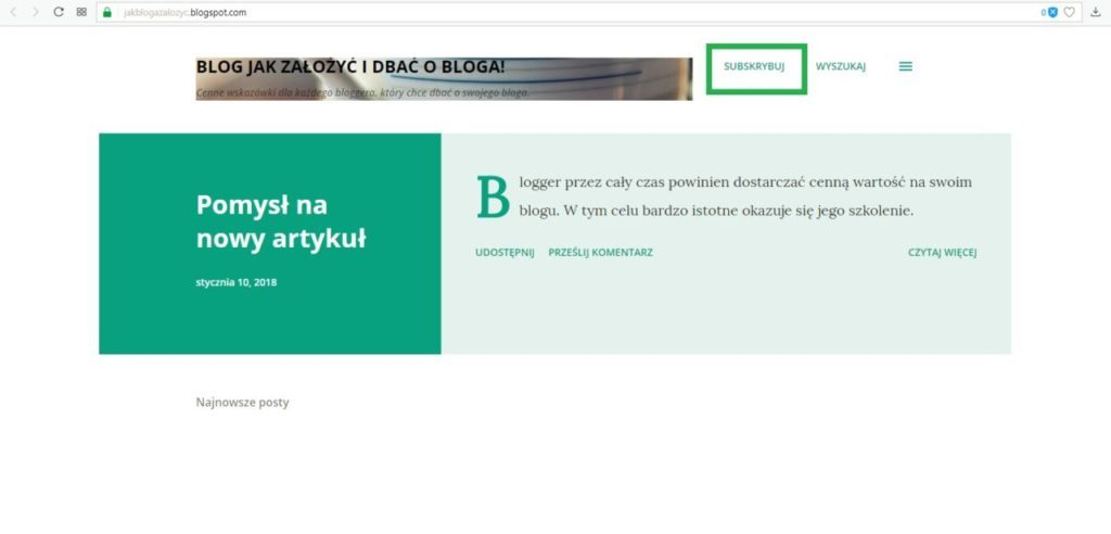 jak założyć bloga na blogspot - testowanie subskrybuj bloga