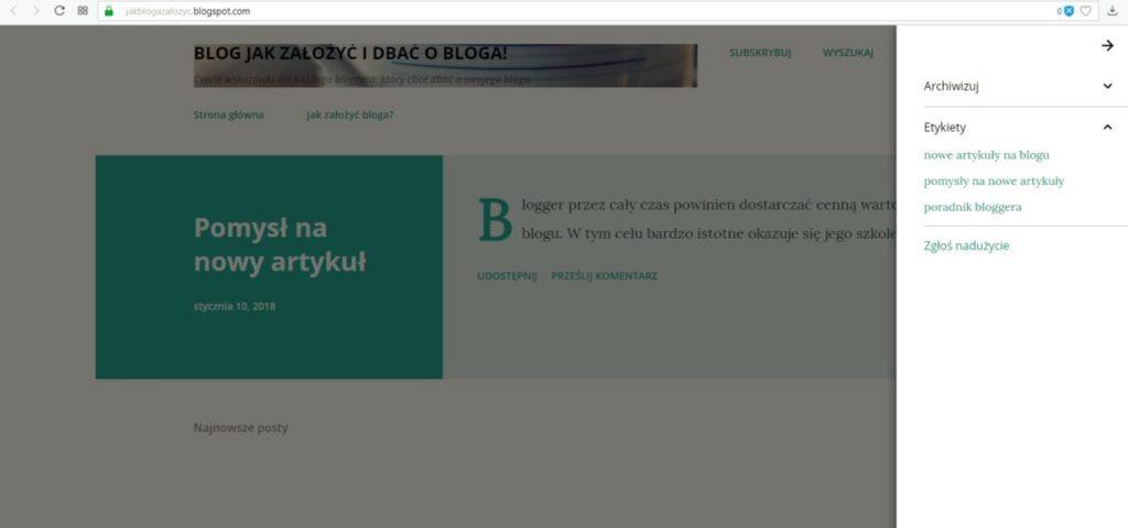 jak założyć bloga na blogspot - ustawienie etykiet słów kluczowych część 3