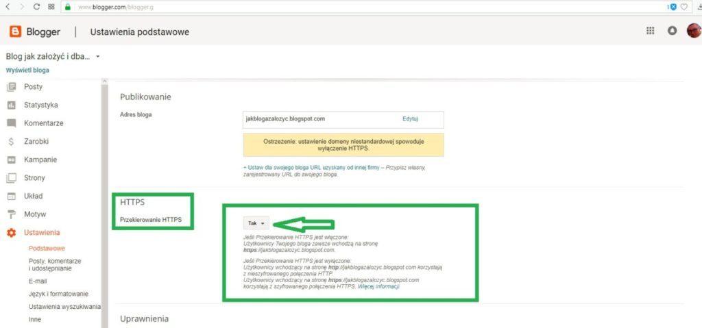 jak założyć bloga na blogspot - ustawienie przekierowania protokołu https