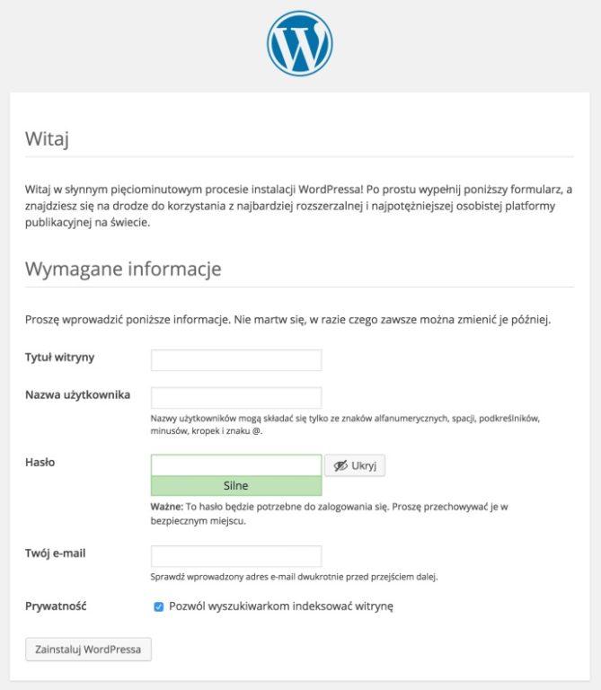 jak założyć bloga wordpress wymagane informacje