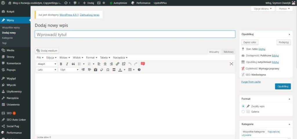 blog WordPress - dodaj nowy wpis artykuł na blogu