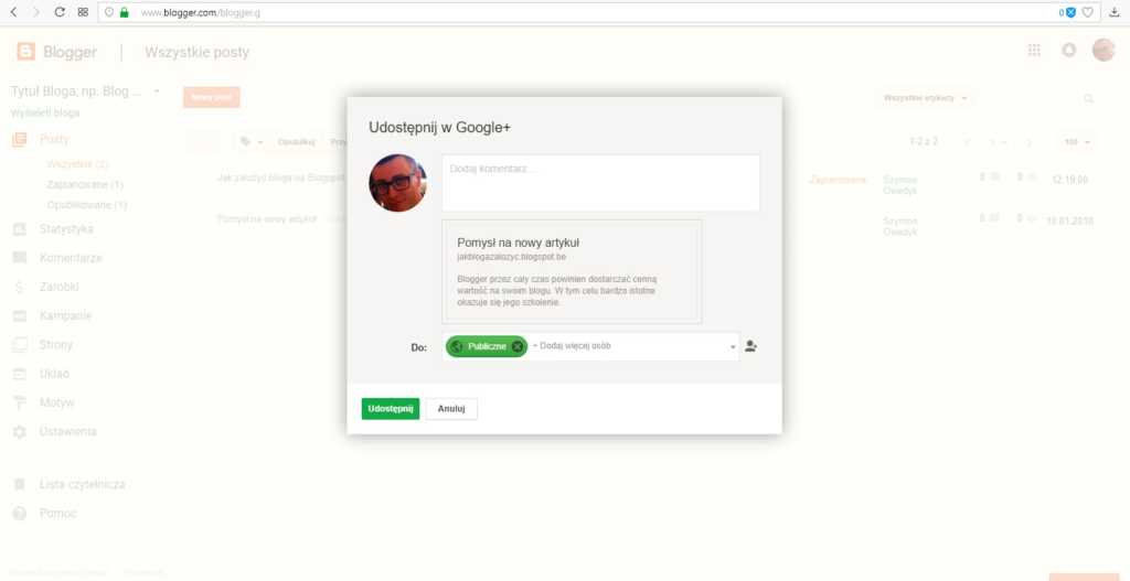 jak założyć bloga na blogspot - możliwość udostępnienia wpisu w Google+