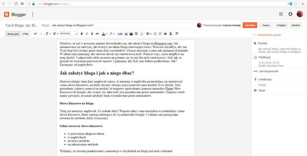 jak założyć bloga na blogspot - przykładowy wpis i cenne wskazówki dla bloggera