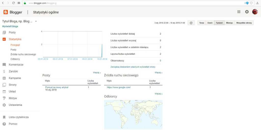 jak założyć bloga na blogspot - statystyka bloga