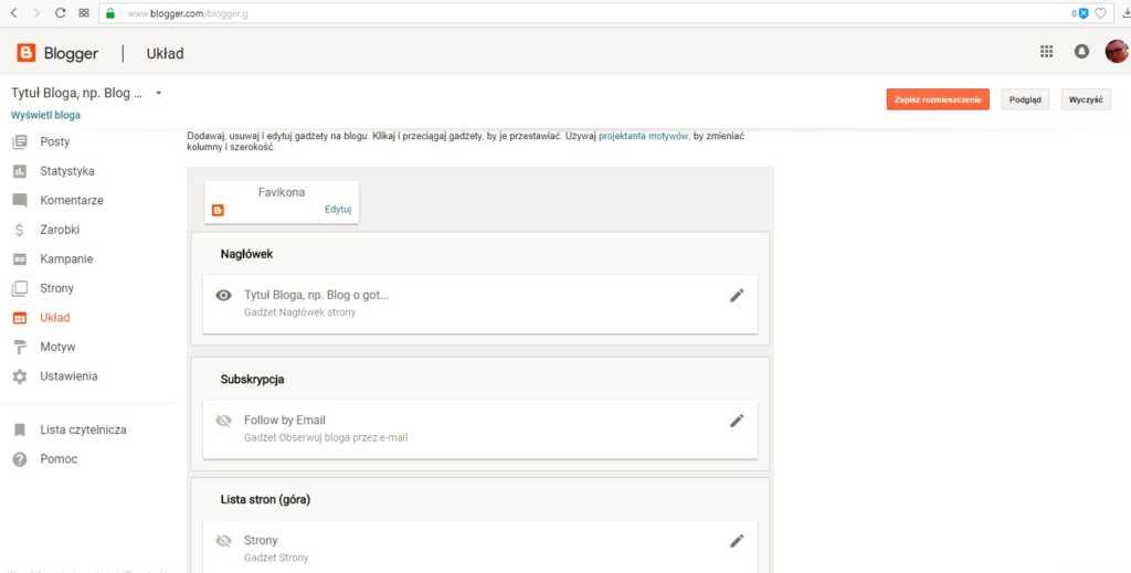 jak założyć bloga na blogspot - ustawiamy układ bloga
