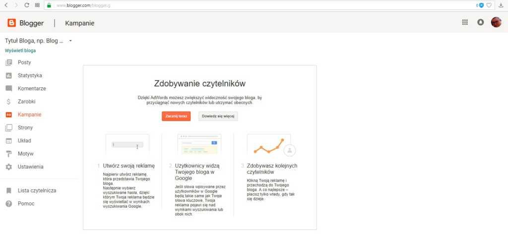 jak założyć bloga na blogspot - utwórz kampanię google Adwords