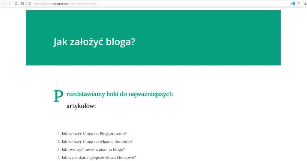jak założyć bloga na blogspot - utwórz nową stronę część 3
