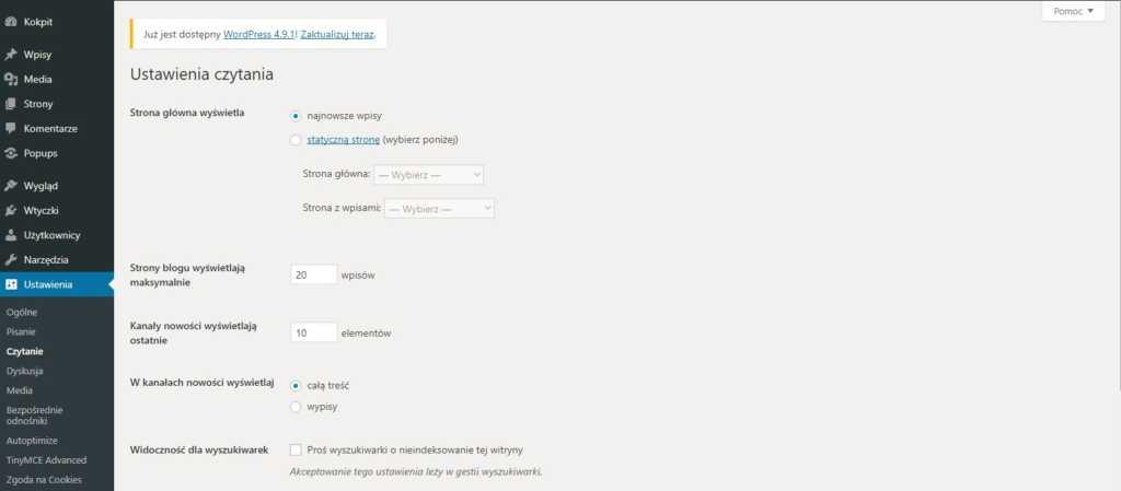 jak załozyć bloga - zakładka ustawienia i czytanie w WordPressie
